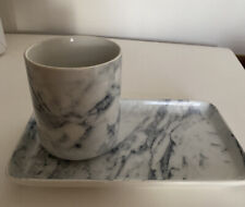 H&M HOME MARBLE STYLE PORCELAIN SOAP DISH AND BRUSH HOLDER CUP INTERIOR