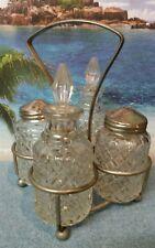 Vintage Salt & Pepper Shakers with Oil & Vinegar Cruet Set w/Silver Plate Rack