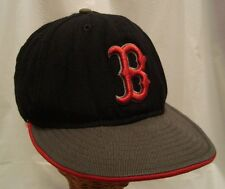 Boston Red Sox fitted gray brim cap hat by New Era - Size 7 1/8