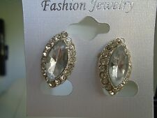 Earring Clip On Marquis Shape Clear Crystal with Comfort Closure