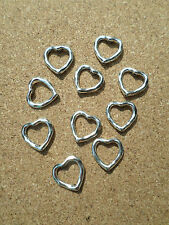 10 x Silver Plated Bead Frames - Heart - 14mm