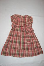 Womens PLAID COWGIRL DRESS Strapless SWEETHEART NECKLINE Beige Green Red M 8-10