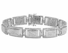 """White Gold Finish Genuine Diamond Designer Men's Custom Bracelet 1 1/5 CT 8.5"""""""