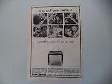 advertising Pubblicità 1966 TV TELEVISORE NAONIS PN 11