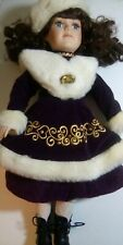 """Collector's Choice 16"""" Porcelain Doll Winter Outfit Purple Velveteen Faux Fur"""