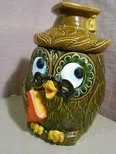 Vintage Green OWL Cookie Jar Japan