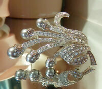 Vintage 80's Faux Pearls And Sparkling Ice Rhinestone Flower Brooch Nice 369my8