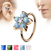 Opal CZ Flower Rose Gold IP Helix Tragus Rook Snug Daith Hoop Nose Ring Piercing