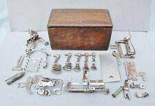 Singer Sewing Machine Folding Puzzle Accessory Box Oak Wood & 19 Parts Antique