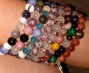 custom made bracelets made for your needs. amethyst, rose quartz, black tourmali