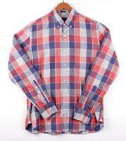 J Crew Mens Button Front Slim Fit Shirt Cotton Size M Plaid Red Blue
