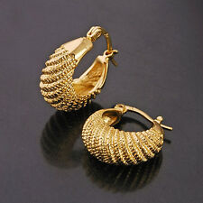 "NEW LARGE 14K YELLOW GOLD FILLED""caterpillar"" Ladies Hoop DANGLING Earrings"