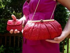 JUDITH LEIBER RICH RED PYTHON SNAKESKIN LEATHER SHOULDER CLUTCH & WALLET SET