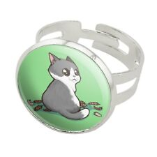 Kawaii Cute Cat with Bird Feathers Silver Plated Adjustable Novelty Ring