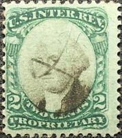 Scott #RB2 US 1874 2 Cent Washington Revenue Proprietary Stamp