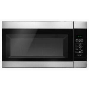 Amana - 1.6 Cu. Ft. Over-the-Range Microwave - Black on stainless