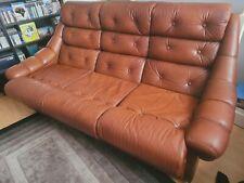 More details for retro vintage leather sofa - danish 1960s