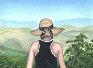 Original Woman Hat Mountains Art Drawing Colored Pencil Painting Travel