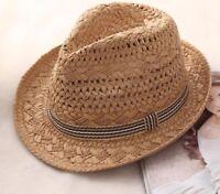 Jazz Hat Parent Child Raffia Straw Summer With Bands Women Kids Beach Hollow Cap