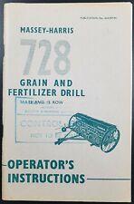 Original Massey Harris Operating Instructions & Parts List For 728 Grain Drill