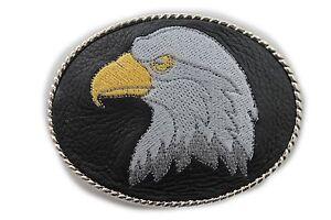 Men Women Belt Buckle Silver Metal Casual Fashion Black Leather American Eagle