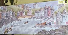 "Cornish Fishing Village  48"" x 20"" Canvas print On A Wooden Stretcher Frame(M)"