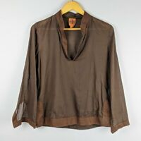 Tory Burch Women's Brown Long Sleeve Tunic Top with Orange Stitching Size 6