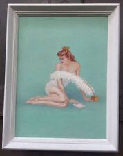 1950s pin-up girl & feather pen oil on canvas painting after Alberto Vargas nude
