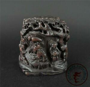 Antique Old Chinese Rosewood Carved Mountain Statue FIGURES UNDER PINE TREES