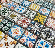NEW MOROCCAN MULTI COLOUR CERAMIC SQUARE MOSAIC WALL TILES 6MM TURKISH GEOMETRIC