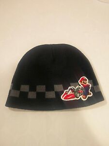 Nintendo Mario Cart Boys OSFM Blue Winter Beanie Hat 100% Acrylic Knit Ski Hat