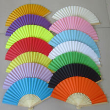 Potable Chinese Plain Hand Held Fabric Folding Fan Summer Pocket Fan Wedding ;AU