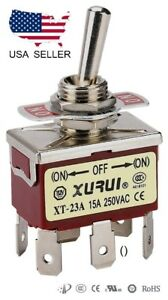 HEAVY DUTY DPDT (ON)-OFF-(ON) MOMENTARY TOGGLE SWITCH - SPADE TERMINALS (23AF)