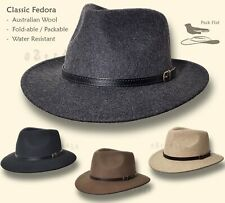 【oZtrALa】Australian Wool Fur Felt HAT Indiana Jones Fedora Mens Leather Band NEW