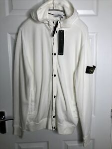 STONE ISLAND Men's XXL Cream Full Zip Hoodie New With Tags 100% Authentic