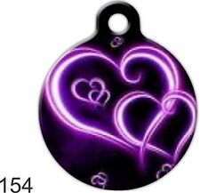 Cute Custom Personalized Pet ID tag for Dog and Cat Collars unique NEON HEARTS