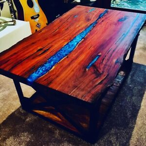 Redgum blue resin river coffee table wood tables furniture rustic nature diy