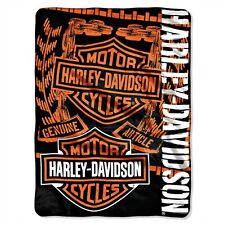 Harley-Davidson® Bar & Shield Orange-Black Fleece Throw Blanket (60x80) | 047129