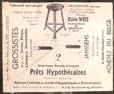 1933 Bruxelles Belgium Advertising Meter Cancel Cover Mammouth Metal Stools