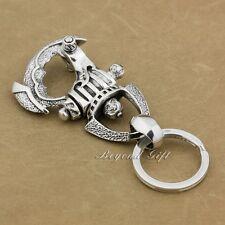 925 Sterling Silver Huge Heavy Helmet Mens Biker Punk Keychain Belt Clip 8J018A