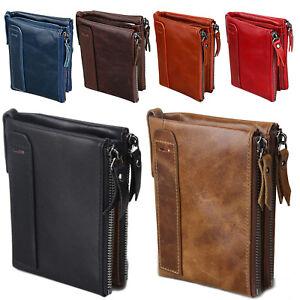Men's RFID Block Crazy Horse Leather ID Window Zipper Coin Pocket Bifold Wallet