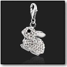 925 argento Sterling Bianco Coniglio Clip Per Braccialetto Charm Swarovski Crystal 3D