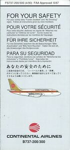 Safety Card - Continental - B737 200 300 - IRC Code 869 - 1990 (S4307)