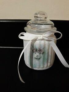 Beautiful Decoupage Bunny Sweet/Bon Bon Jar. Easter Mothers Day Gift.Shabby chic