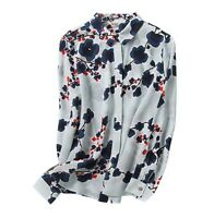 Women's Casual Comfy 100% Silk Blue Floral Long Sleeve Spring Shirt Tops Blouse