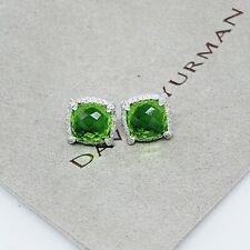 David Yurman Sterling Silver Chatelaine Peridot Diamond Stud Earrings