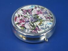 Sweet Pea & Butterfly Pill Box Three Pill Compartments - Supplied Gift Boxed