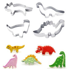 4Pcs Stainless Steel Dinosaur 3D Christmas Biscuit Cookie Cutter Cake Mold