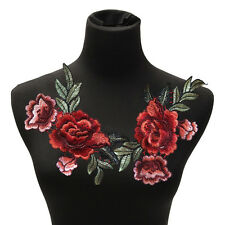 2Pcs/Set Rose Flower Patch Floral Embroidered Applique Patches Sew on For Diy Ca