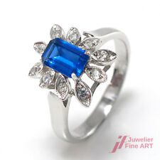 Ring - 18K/750 WG - 1 Blautopas - 10 Diamanten ca. 0,10 ct - 3,4 g - 51